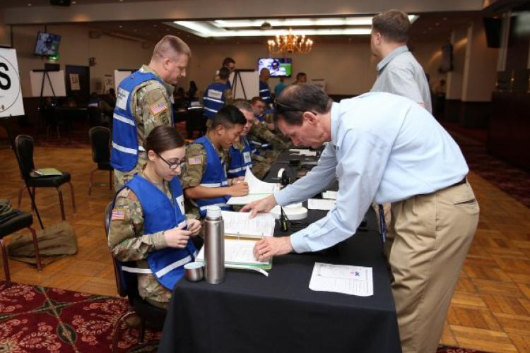 Members of the Camp Zama community participate in an Emergency Evacuation Program muster at the Camp Zama Community Club Sept. 27, 2018. (Photo Credit: Yuichi Imada, U.S. Army Garrison Japan Visual Information)