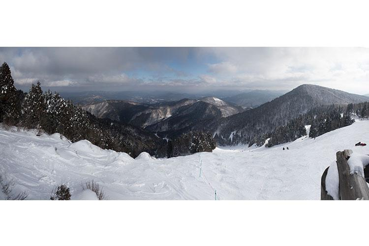Panoramic view at the top of Mizuho Highland Mountain and Snow Resort, Shimane Prefecture, Japan, Feb. 2, 2019. U.S. service members from Marine Corps Air Station Iwakuni visited the resort during weekend liberty with the Iwakuni Single Marine Program. (U.S. Marine Corps photo illustration by Cpl. Andrew Jones)