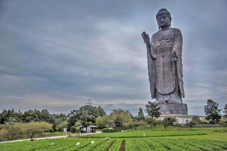 The Ushiku Daibutsu in Tsukuba, Japan, was built in 1993 to commemorate the birth of Shinran, founder of the Jodo Shinshu sect of Buddhism. THERON GODBOLD/STARS AND STRIPES