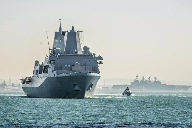 The amphibious transport dock USS New Orleans leaves San Diego for its new homeport at Sasebo Naval Base, Japan, Oct. 15, 2019. NELSON DOROMAL/U.S. NAVY
