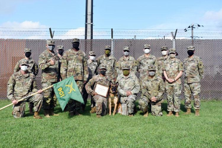 Members of the 901st Military Police Detachment, Lt. Col. Demetrick Thomas and Command Sgt. Maj. Edgar Rodriguez, command team of the 35th Combat Sustainment Support Battalion, as well as Soldiers from the Camp Zama Veterinary Treatment Facility, pose for a photo with Sgt. 1st Class Vito during Vito's retirement ceremony at Camp Zama, Japan, Sept. 17. (Photo Credit: Winifred Brown)