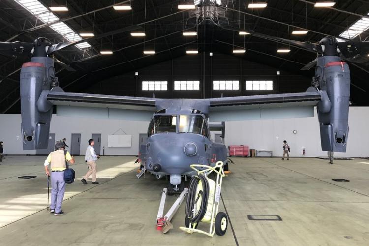 Japanese journalists check out a CV-22 Osprey at Yokota Air Base, Japan, Oct. 3, 2018. SETH ROBSON/STARS AND STRIPES