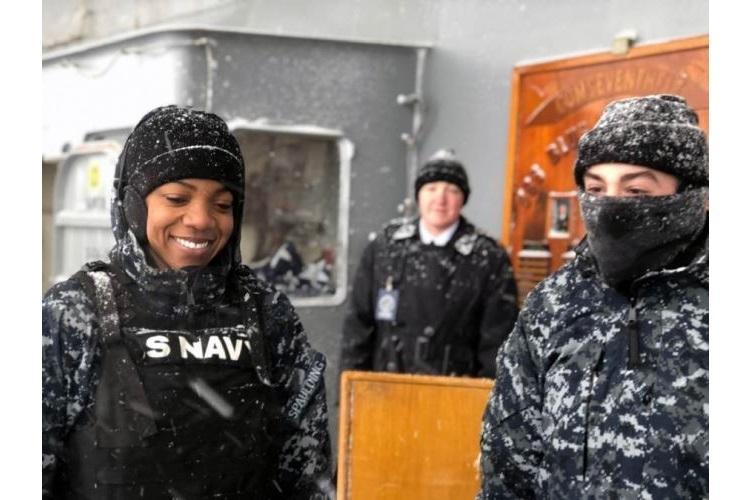 USS Blue Ridge sailors stand watch on board the Navy's oldest operational ship during a port visit in Otaru, Japan, on Friday, Feb. 8, 2019. (CAITLIN DOORNBOS/STARS AND STRIPES)