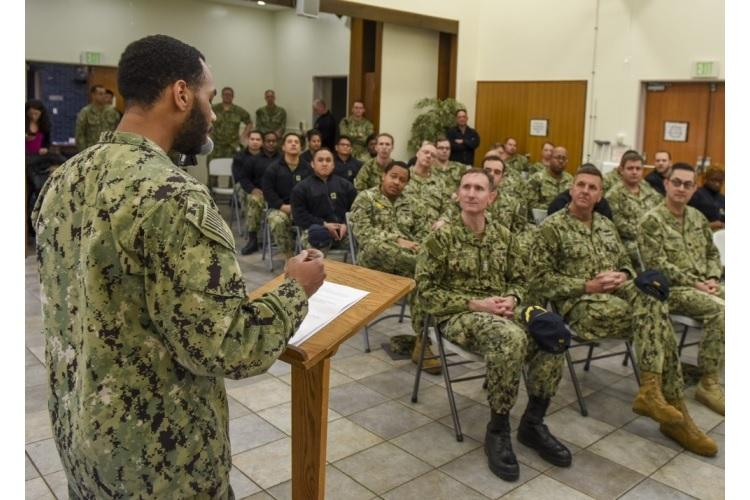 """YOKOSUKA, Japan (Feb. 14, 2020) """" Operations Specialist 2nd Class Tyron Ore, Commander, Fleet Activities Yokosuka™s (CFAY) Multicultural Committee Vice President, delivers opening remarks during a Black History Month celebration in the CFAY Chapel of Hope. (U.S. Navy photo by Mass Communication Specialist 2nd Class Tyler R. Fraser/Released)"""