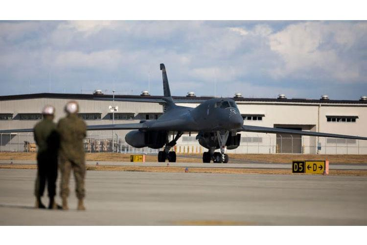 A U.S. Air Force B-1B Lancer with the 37th Expeditionary Bomb Squadron, 28th Bomb Wing, taxis the runway at Marine Corps Air Station Iwakuni, Japan, Dec. 16, 2020. The Squadron is part of the Bomber Task Force that supports Pacific Air Force's strategic deterrence mission and its commitment to the security and stability to the Indo-Pacific region. (U.S. Marine Corps photo by Lance Cpl. Tyler Harmon)