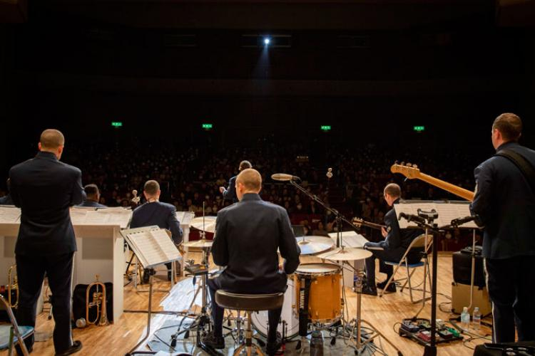 U.S. Air Force Band of the Pacific members perform during a U.S.-Japan joint concert March 9, 2019, at Kyotango City, Japan. The PACAF band performed several songs for the local community. (U.S. Air Force photo by Senior Airman Juan Torres)