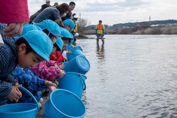 Children release baby salmon into the Oirase River for the 22nd Annual Baby Salmon Release at Shimoda Salmon Park, Japan, March 16, 2019. The baby salmon released during this event were bred from last season's salmon catch. After living three to five years in the Northern Sea, the fish find their way back to the river to create future generations. (U.S. Air Force photo by Branden Yamada)