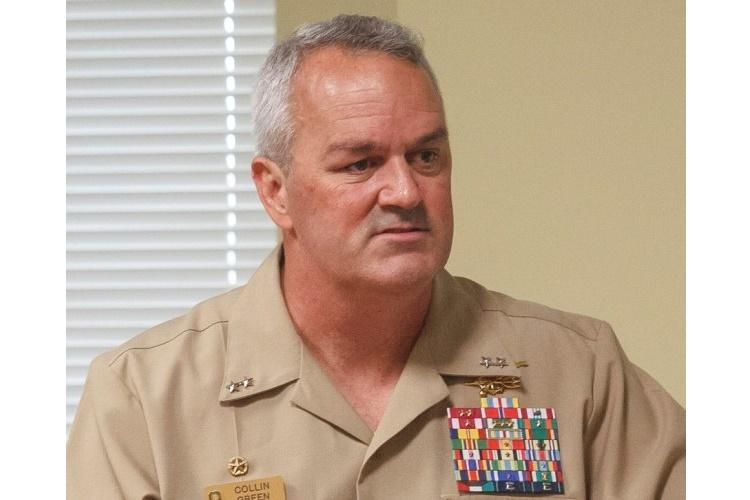 Rear Adm. Collin P. Green, shown here speaking at Homestead Air Reserve Base, Fla., in 2017, has dismissed SEAL Team 7's top three leaders from their duties. (OSVALDO EQUITE/U.S. ARMY)