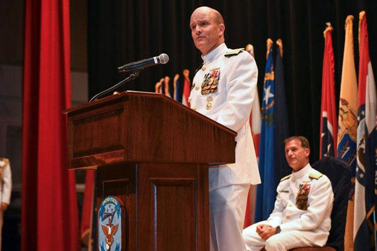 Vice Adm. Bill Merz speaks after taking command of the 7th Fleet from Vice Adm. Phil Sawyer at Yokosuka Naval Base, Japan, Thursday, Sept. 12, 2019. (JIMMY ONG/U.S. NAVY)