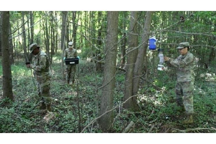 MAJ Jaree Johnson (far right) and her team conducted field insecticidal resistance surveillance to establish a baseline for potential resistant mosquitoes on Aberdeen Proving Ground in Maryland.