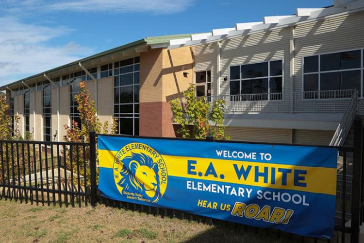 E. A. White Elementary School at Fort Benning, Ga., is seen in 2018. Schools at Fort Benning will be closed beginning Wednesday, March 18, 2020, due to the coronavirus pandemic. MARKEITH HORACE/U.S. ARMY