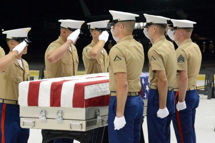 Marine Corps pallbearers salute the remains of an unidentified servicemember being returned from Tarawa during a ceremony at Joint Base Pearl Harbor-Hickam, Hawaii, Wednesday, July 17, 2019. WYATT OLSON/STARS AND STRIPES