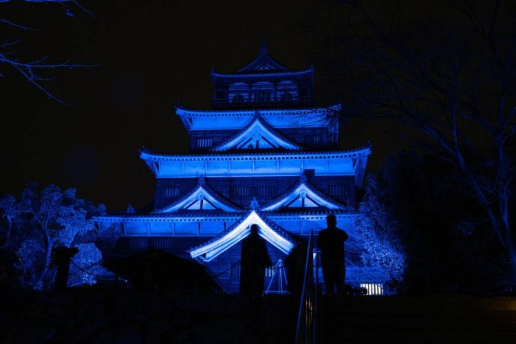 Hiroshima Castle, in Japan, glows in the dark Feb. 27, 2019, during an art show commemorating the 400th anniversary of the Asano clan taking ownership of the castle and surrounding lands. JAMES BOLINGER/STARS AND STRIPES