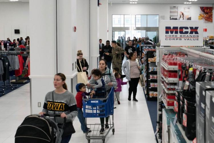 The new Marine Corps Exchange at MCAS Iwakuni, Japan, shown here on opening day, Thursday, March 14, 2019, cost more than $60 million to build. JAMES BOLINGER/STARS AND STRIPES