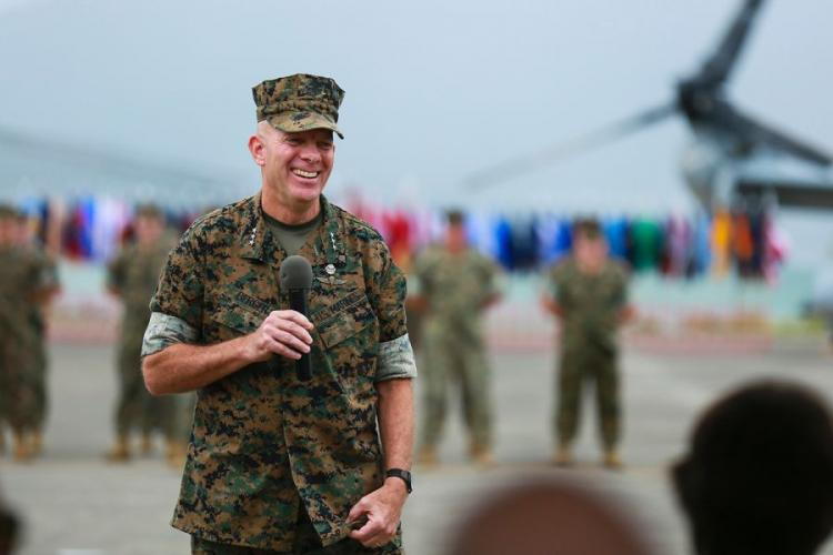 Lt. Gen. David H. Berger speaks during the U.S. Marine Corps Forces, Pacific change of command ceremony at Marine Corps Base Hawaii, Aug. 8, 2018. During the ceremony, Berger relinquished command to Lt. Gen. Lewis A. Craparotta. Berger has been nominated to become the next commandant of the Marine Corps. PATRICK MAHONEY/U.S. MARINE CORPS