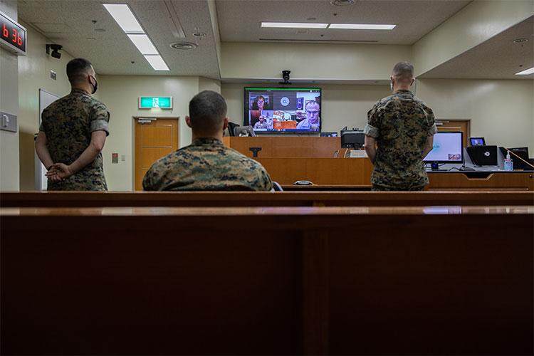 The Legal Support Services Team (LSST) aboard Marine Corps Air Station (MCAS) Iwakuni virtually receives the 2020 Commandant's Award for Excellence in Legal Assistance, MCAS Iwakuni, Japan, April 2, 2021. The LSST was recognized for providing a greater quality of service to residents on the air station compared to other Marine Corps installations, despite the small size of their office. This was the first time the air station won the award. (U.S. Marine Corps photo by Lance Cpl. Triton Lai)