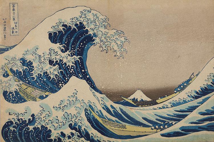 The Great Wave off Kanagawa woodblock print by Katsushika Hokusai (1760-1849). Photos courtesy of Ota Memorial Museum of Arts