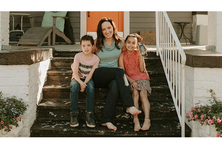 Kellie Artis at her home near Fort Bragg, North Carolina, with Rhys and Hannah. (Photo courtesy Avery Lynn Photography)