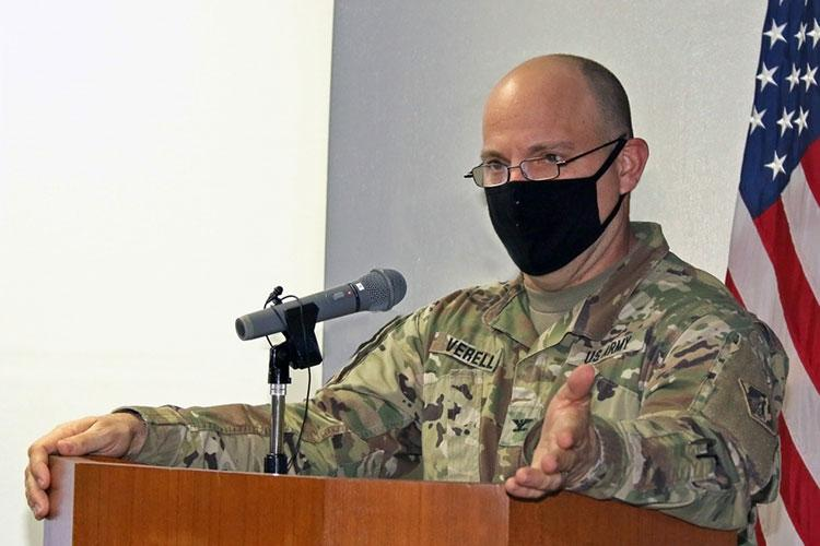 Col. Thomas J. Verell, Jr., Japan Engineer District commander, gives his remarks during Engineer Week 2021. This year's theme Imagining Tomorrow.