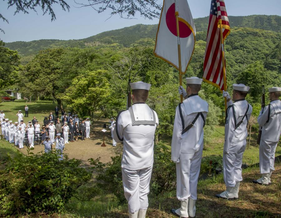 Memorial Ceremony honors American and Japanese Dead at Soto Dam