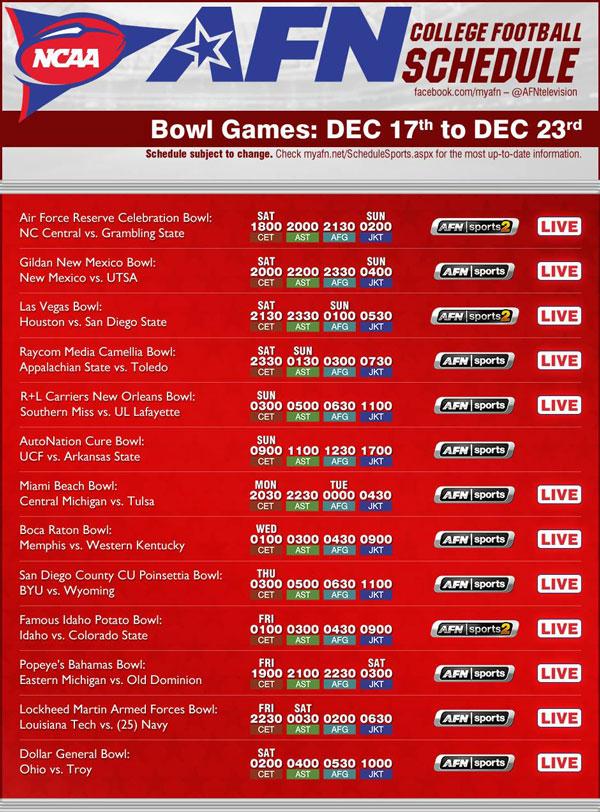 week 15 football schedule ncaa footbal games