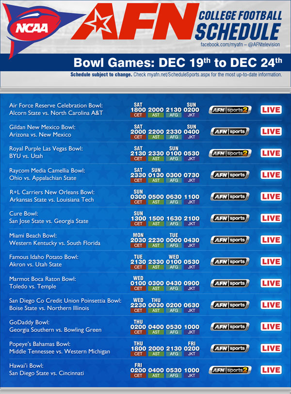 football schedule this week ncaa football games today
