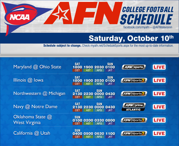 week 5 college football football schedule for thanksgiving
